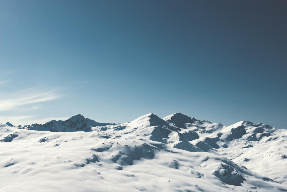 snow, cold, winter, mountains, peak, summit, blue, sky, nature, landscape, outdoors