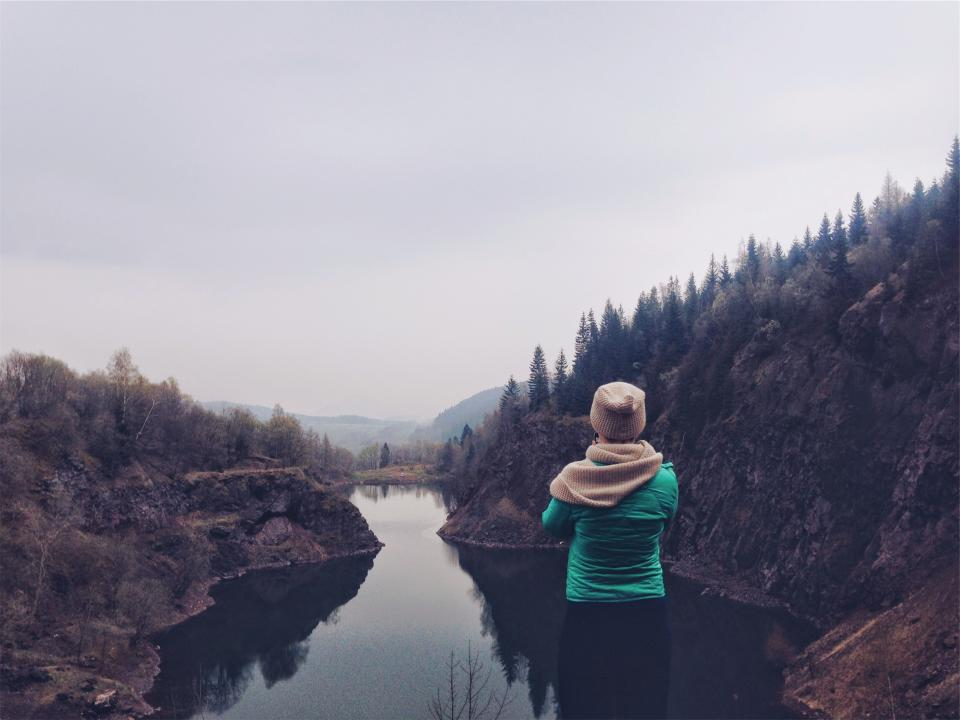 landscape, river, water, mountains, trees, girl, woman, people, nature