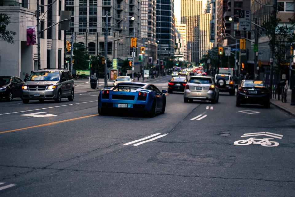 Lamborghini, cars, street, road, traffic, busy, automotive, traffic lights, city, urban, buildings