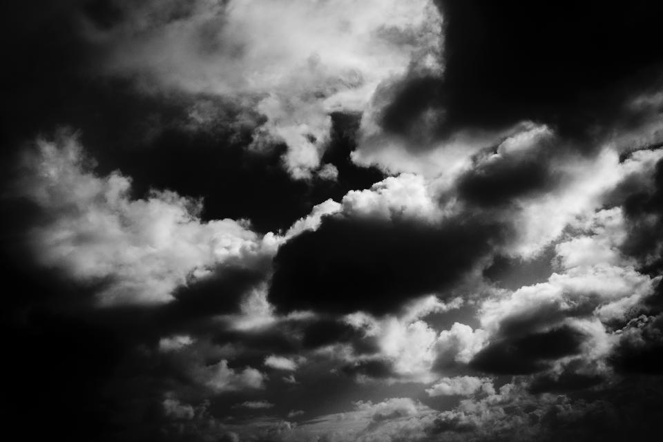 sky, clouds, black and white