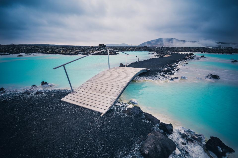 bridge, water, beach, island, landscape, nature, rocks, sky, clouds