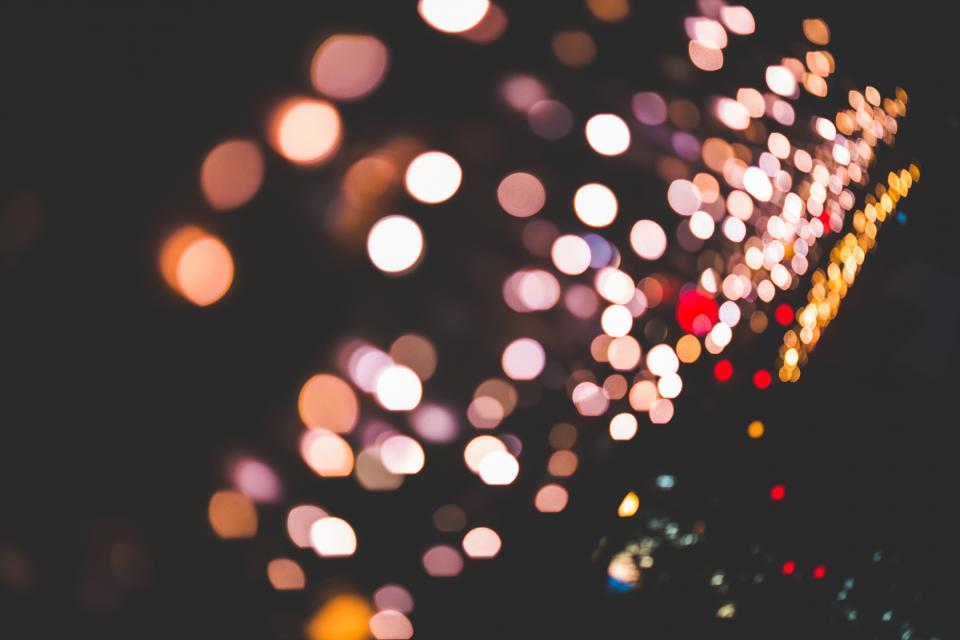 dark, nigh, lights, blurry, abstract, bokeh