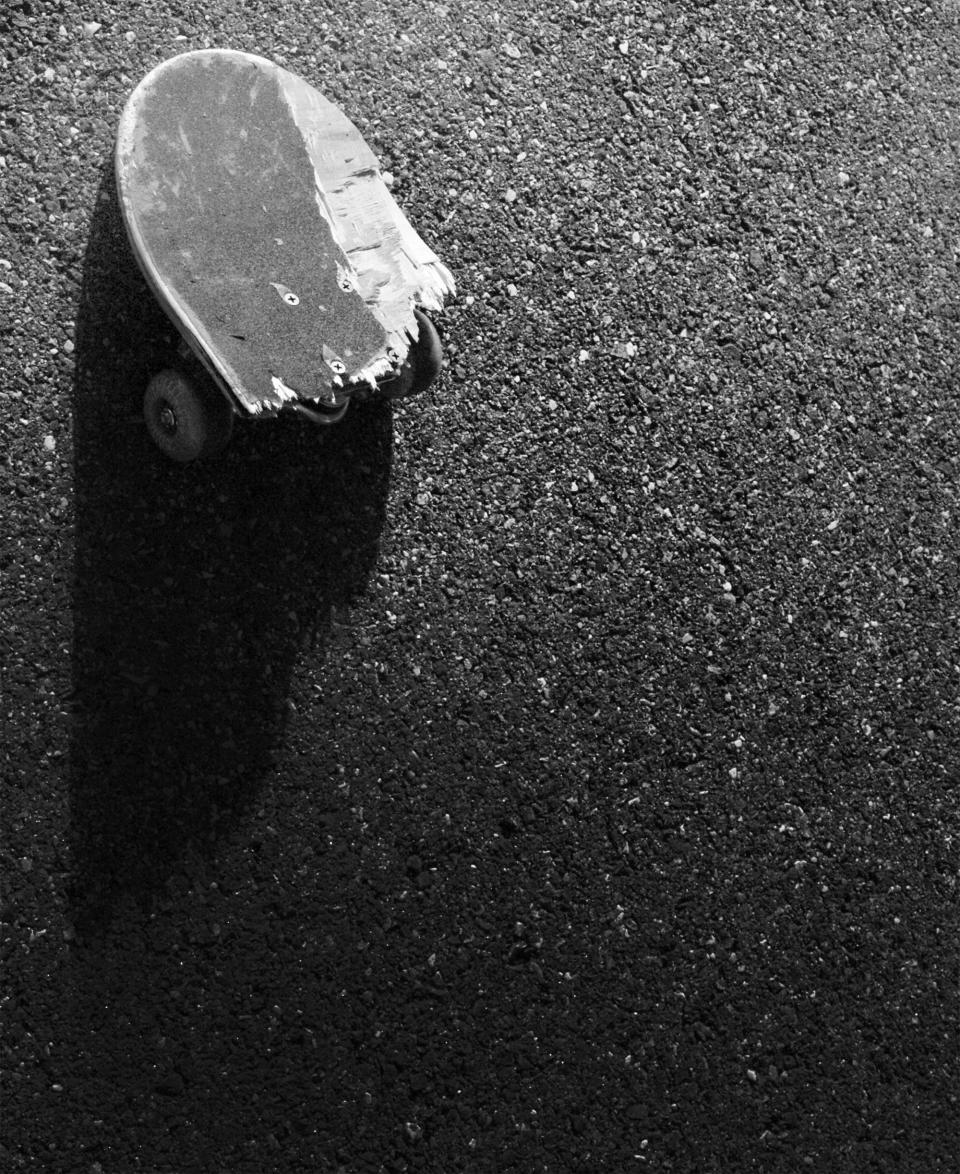 broken, skateboard, pavement, concrete, ground, black and white