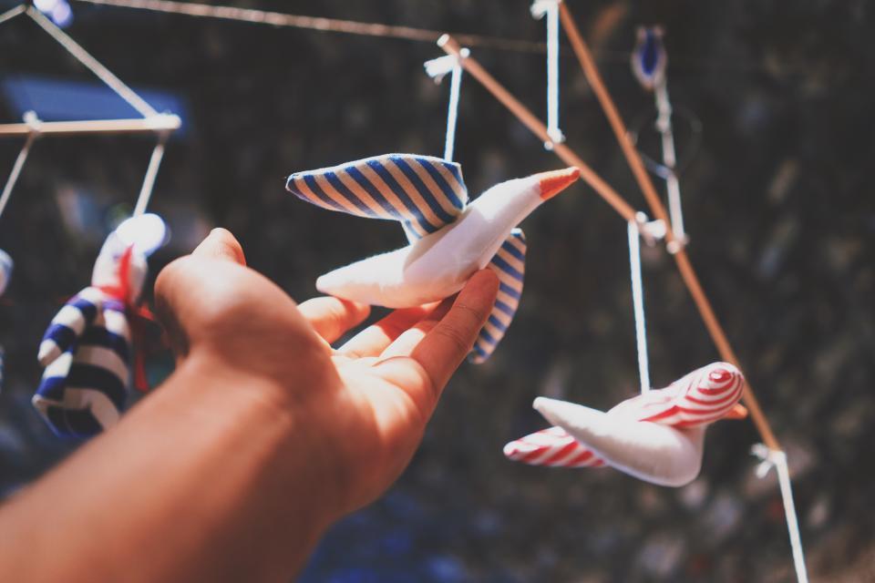 blur, hand, bird, toy, puppet, hang, cord