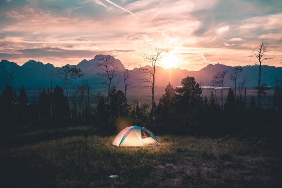 tent, camping, outdoors, grass, trees, field, nature, landscape, mountains, sunset, dusk, summer, sky, clouds, adventure