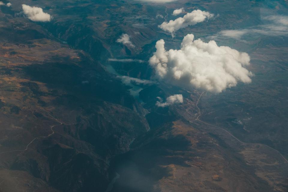 mountains, valleys, hills, cliffs, aerial, view, sky, clouds, landscape, nature