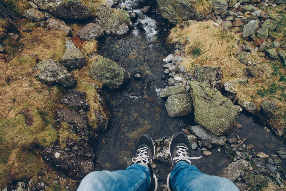 river, stream, water, rocks, shoes, feed, legs, nature, outdoors