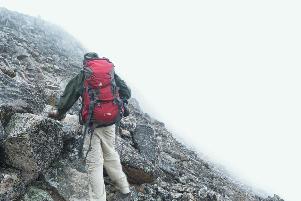 hiking, climbing, fitness, backpack, mountain, rocks, cliff, fog, foggy, guy, man, people, jacket, adventure, outdoors, nature