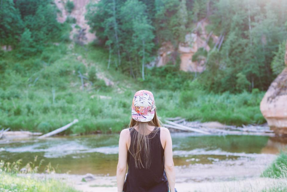 girl, woman, hat, brunette, long hair, people, nature, river, water, outdoors, adventure, trees, forest, woods, hiking, trekking