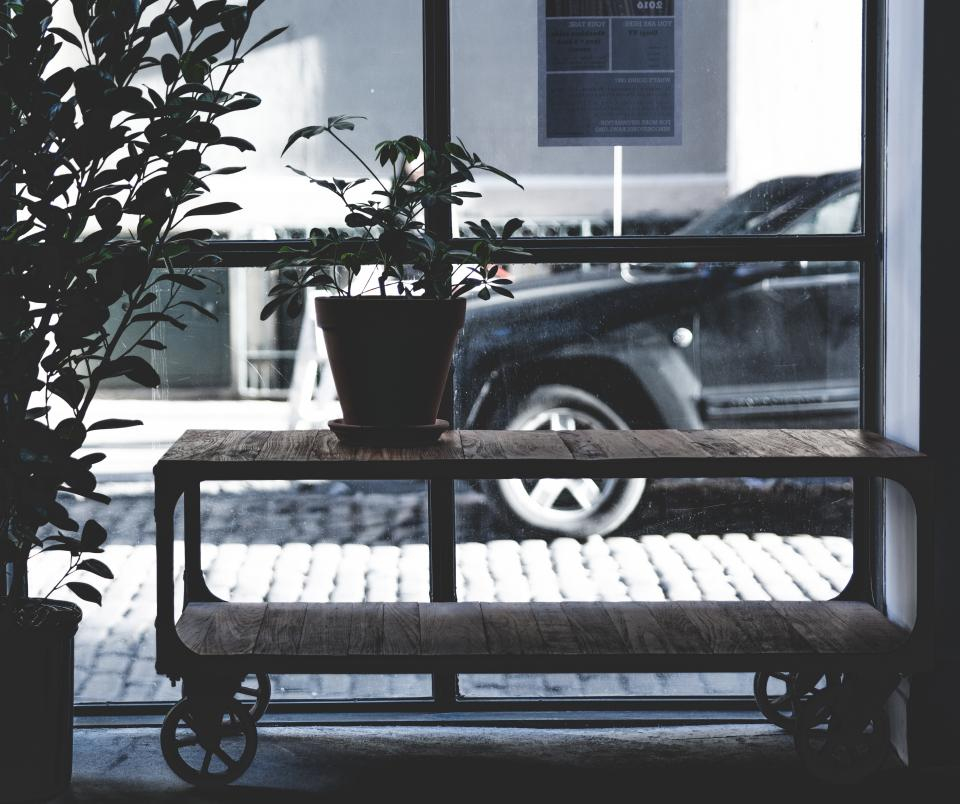 still, items, things, potted, plants, wheels, shelves, wood, panels, window, panes, outside, view, concrete, car