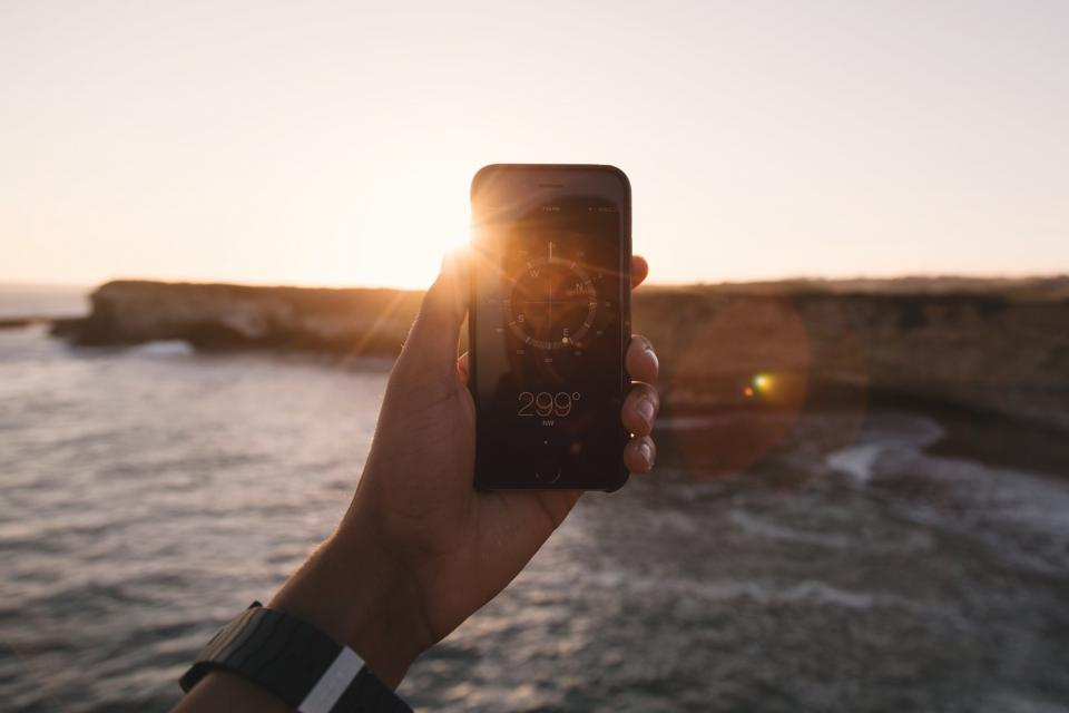 iphone, compass, navigation, sunset, mobile, technology, hands
