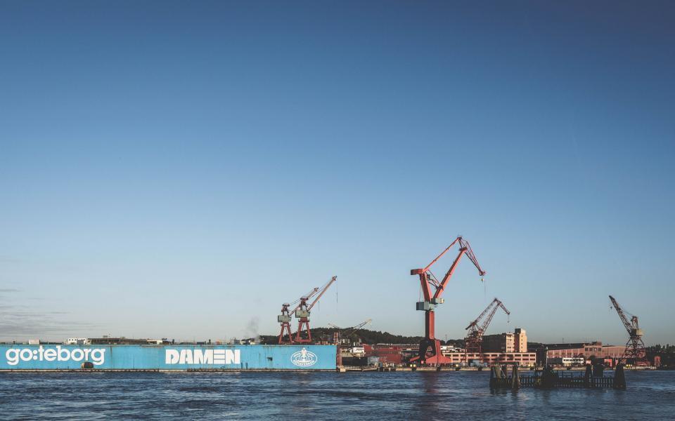 industrial, rigs, cranes, cargo, water, sky, equipment, construction