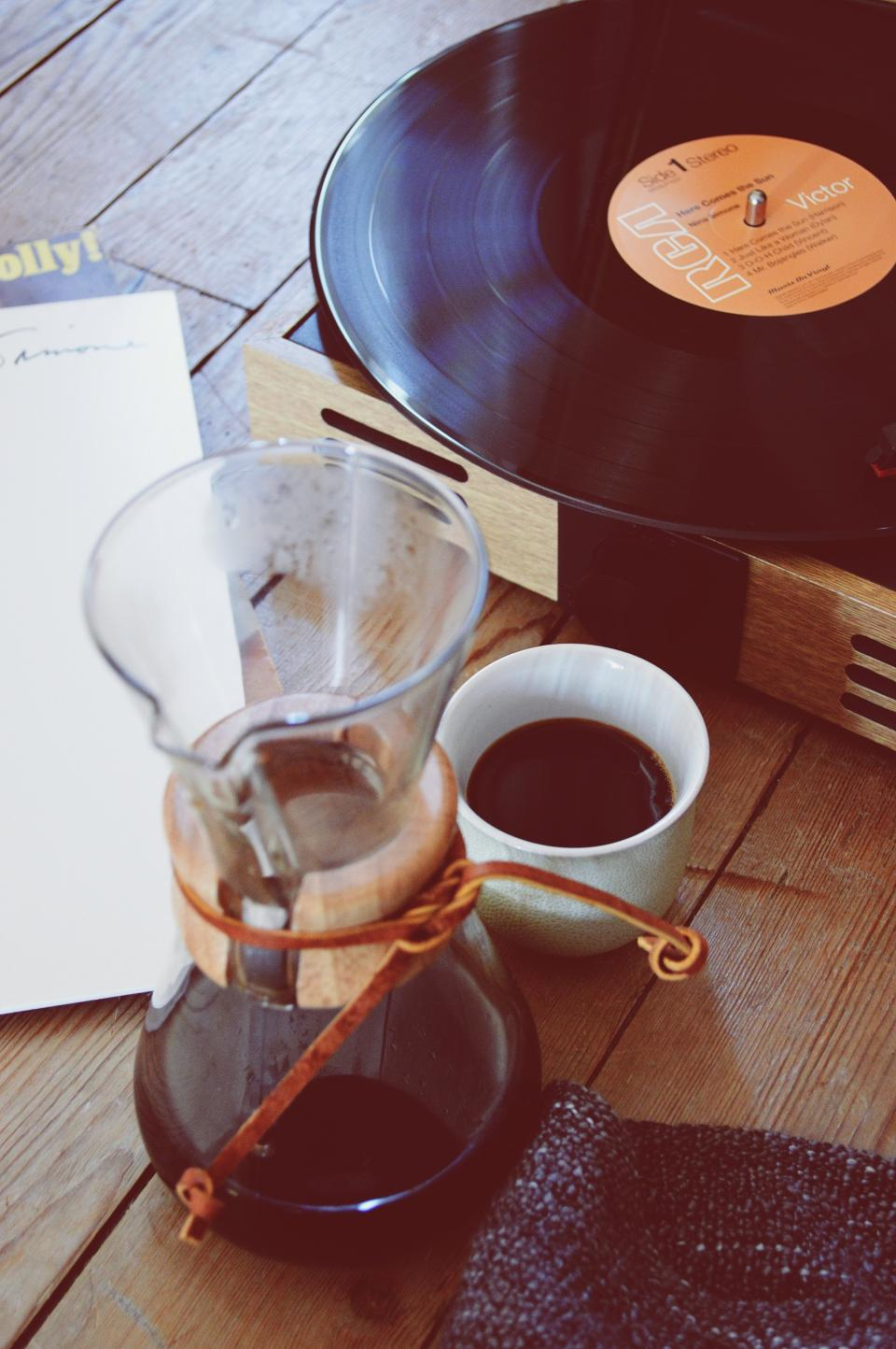 coffee, cup, mug, record, album, lp, music, vinyl, objects