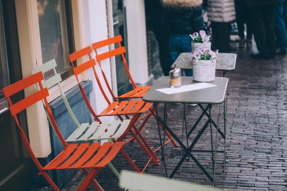 tables, chairs, cafe, restaurant, cobblestone, sidewalk, city, urban, streets