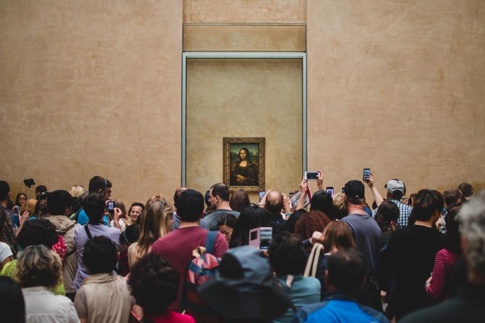 Mona Lisa, painting, art, gallery, people, crowd, cameras