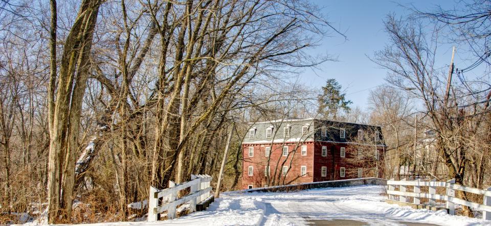 winter, snow, millhouse, fence, blue sky