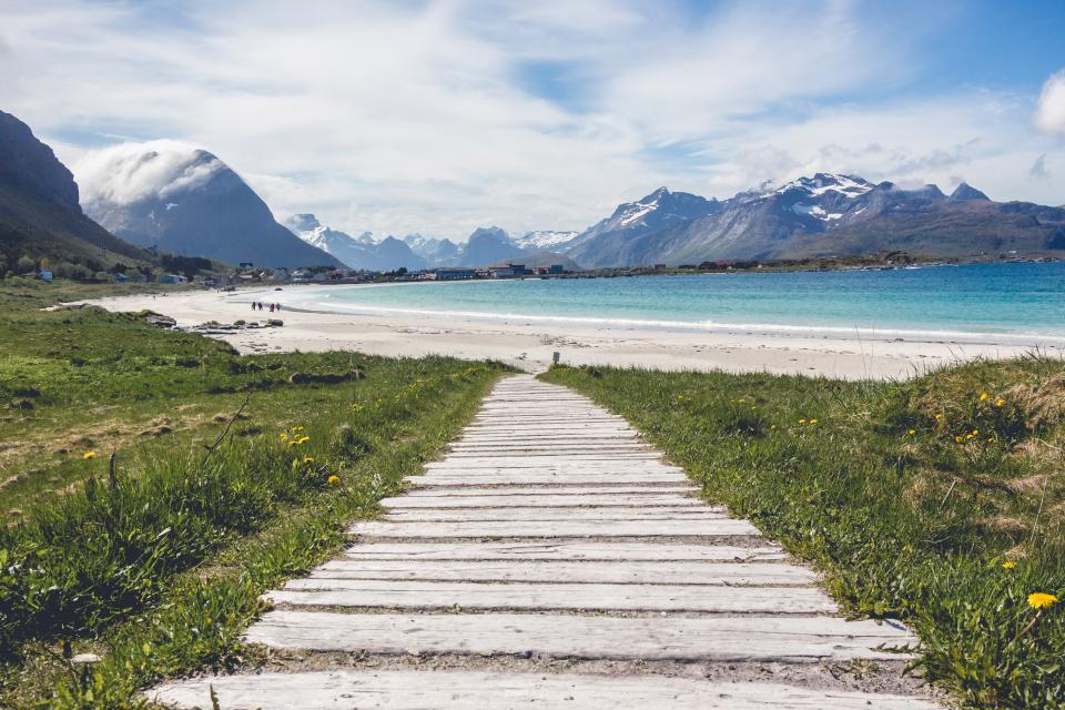 beach, sand, ocean, sea, water, mountains, landscape, sky, clouds, valleys, grass, nature