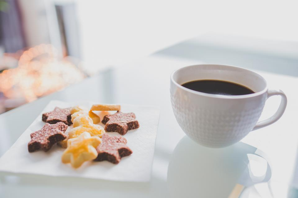 coffee, cup, cookies, dessert, food, treats, sweets