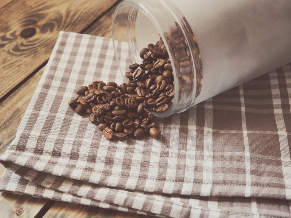 coffee, beans, table cloth, wood