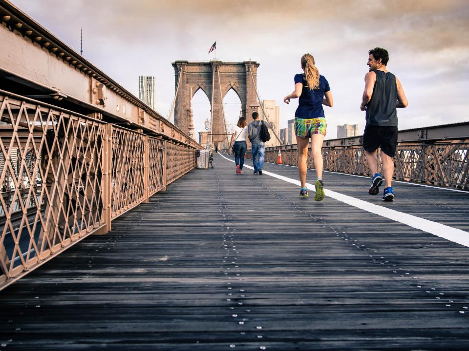 Brookly bridge, running, jogging, fitness, exercise, people, guy, girl, man, woman, architecture