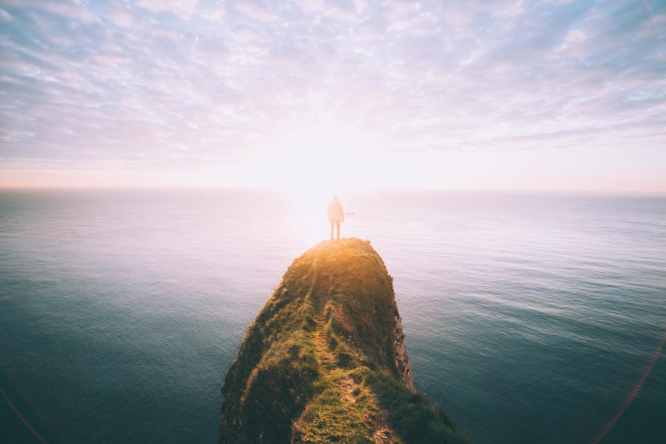 adventure, guy, man, people, sea, ocean, water, cliff, sky, sunlight, horizon