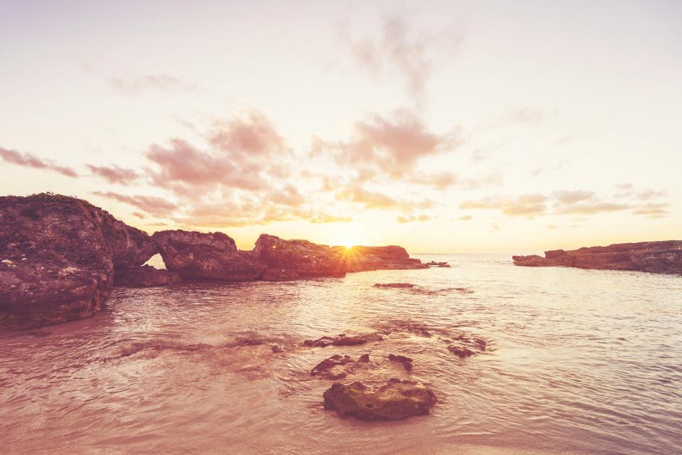 sunset, sky, clouds, lake, ocean, sea, beach, rocks