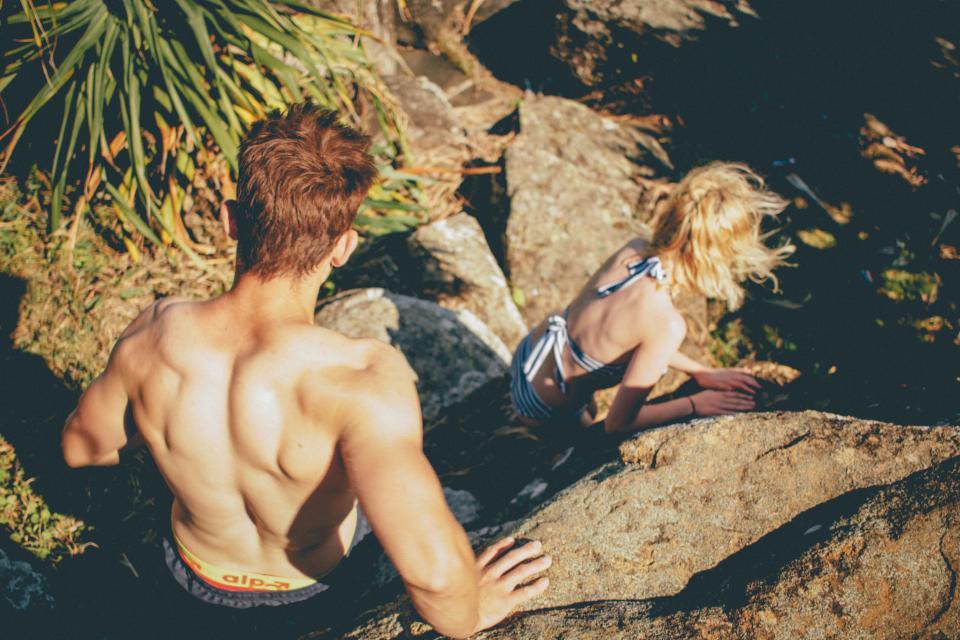 guy, girl, climbing, hiking, trekking, fitness, exercise, people, rocks, swimsuits, bikini, muscles, sunshine, summer