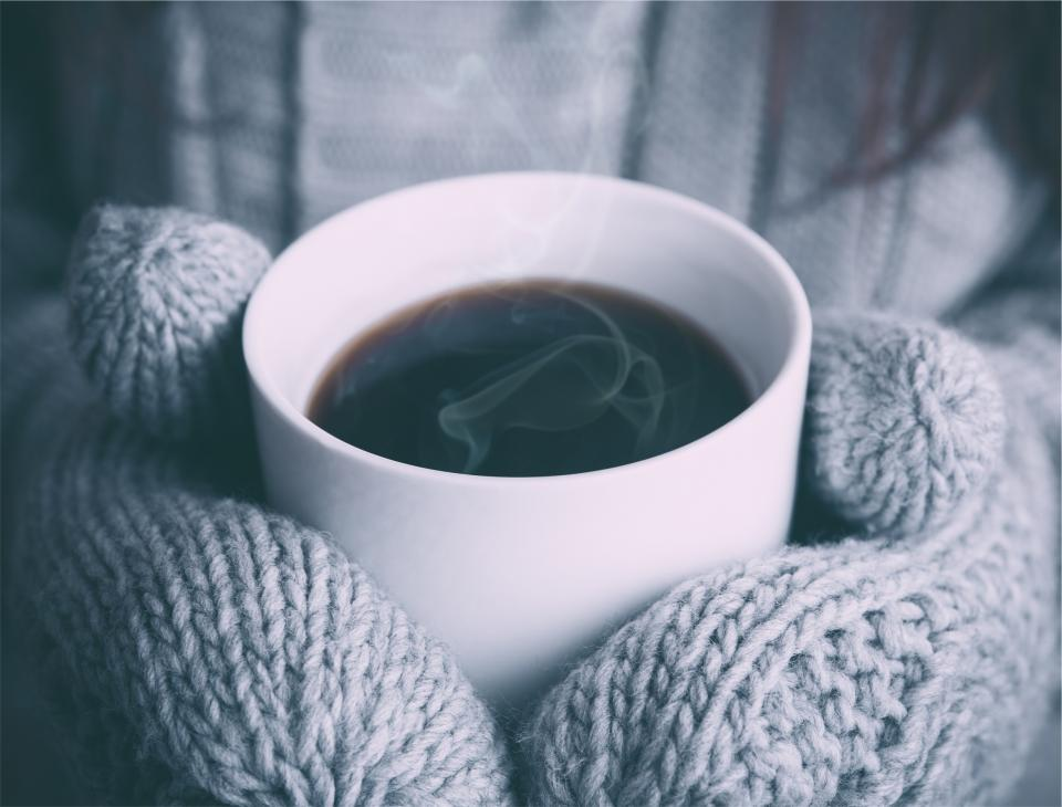 coffee, steam, hot, mittens, mitts