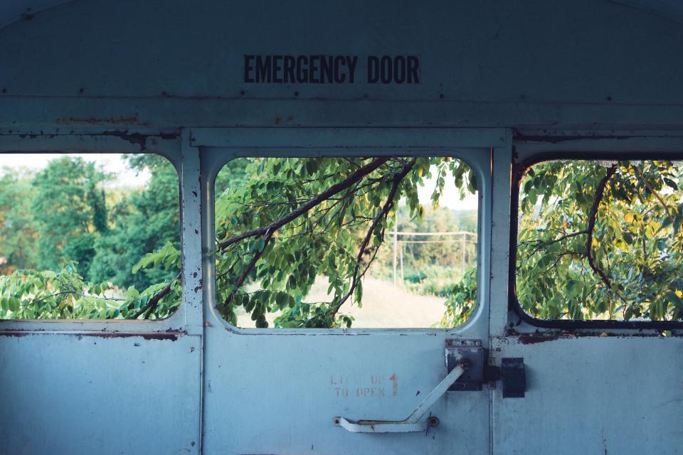 still, items, things, emergency, door, steel, locked, vehicle, warehouse, view, trees