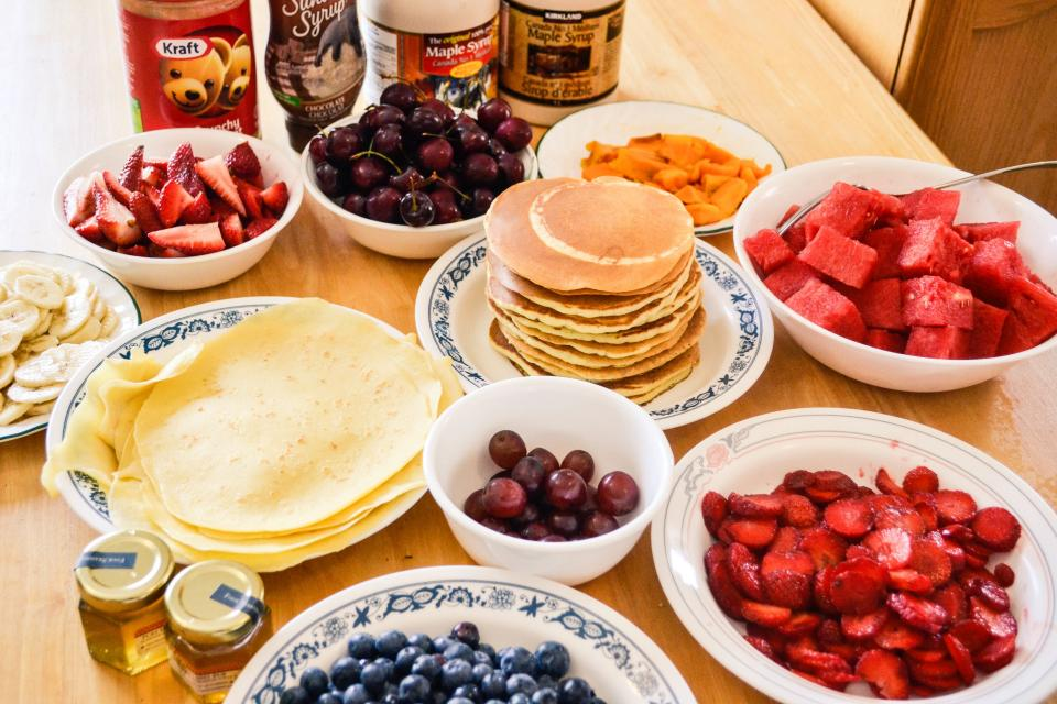 pancakes, breakfast, morning, strawberries, grapes, blueberries, watermelon, cherries, banana, peanut butter, fruits, food, syrup