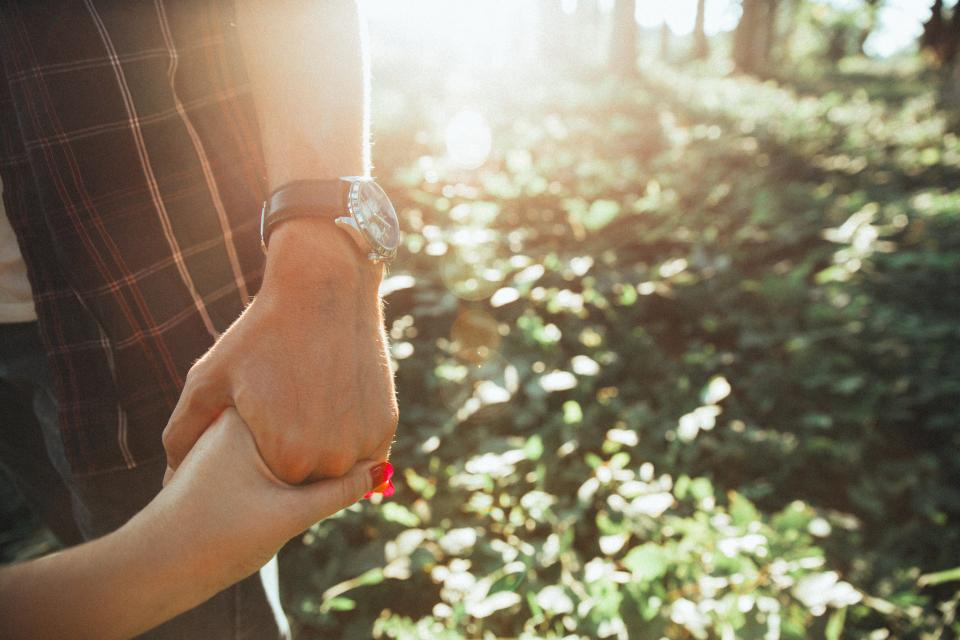 holding hands, couple, love, romance, romantic, sun rays, sunshine, outdoors, nature, people