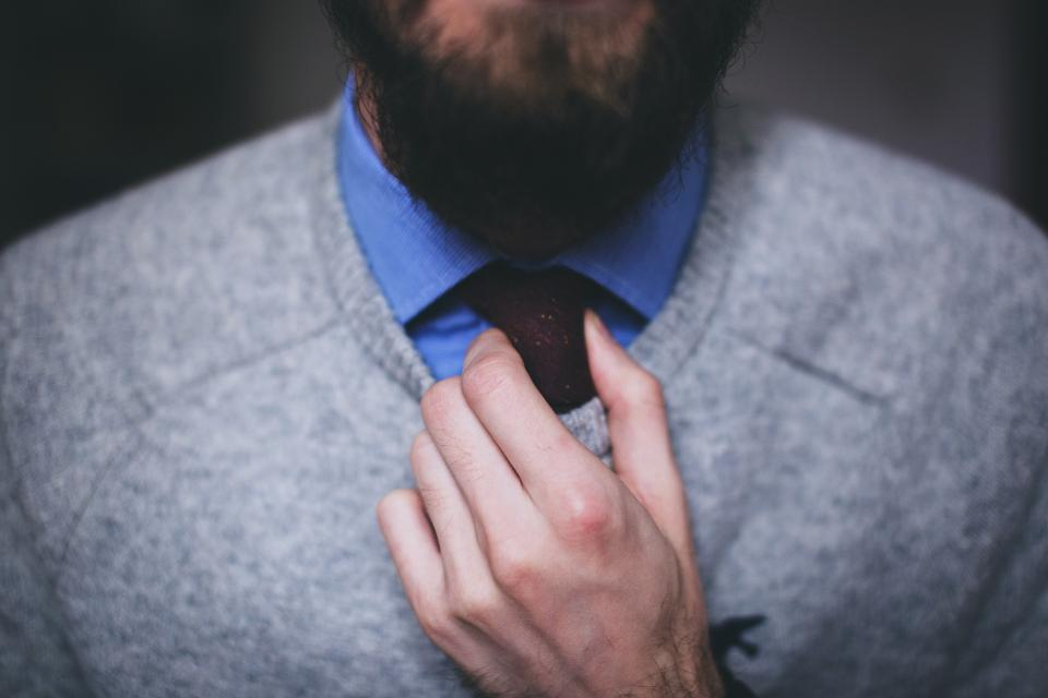 guy, man, tie, sweater, hands, fashion, beard, people
