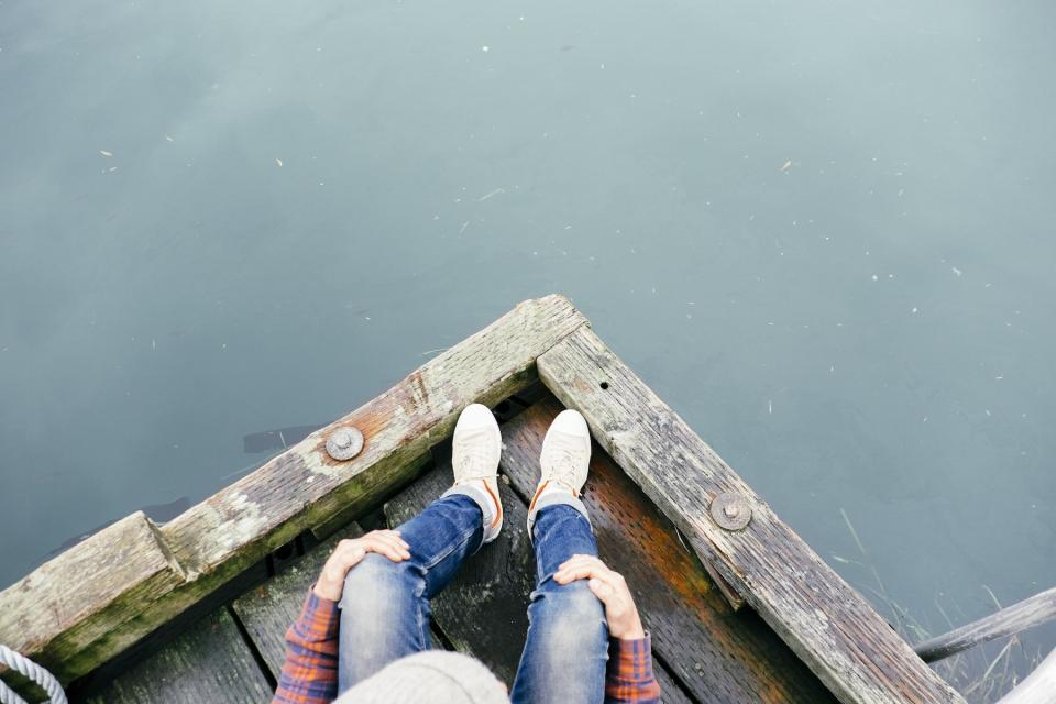 wood, dock, lake, water, jeans, shoes