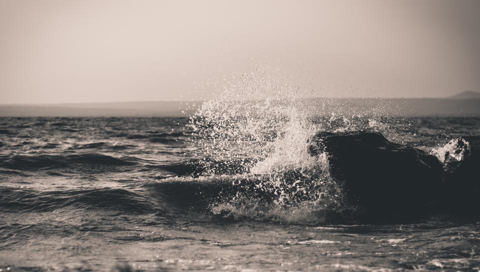 ocean, sea, waves, splash, water