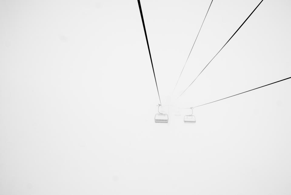 chairlift, ski, skiing, winter, snow, foggy, fog, blizzard, cold, grey, cables