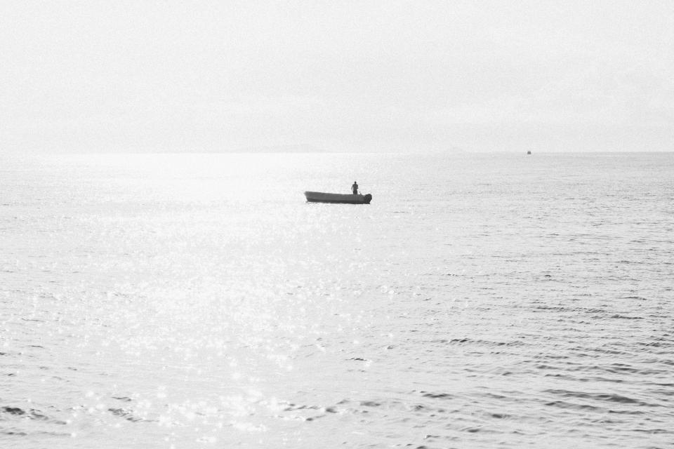 boat, ocean, sea, water, horizon, outdoors, black and white