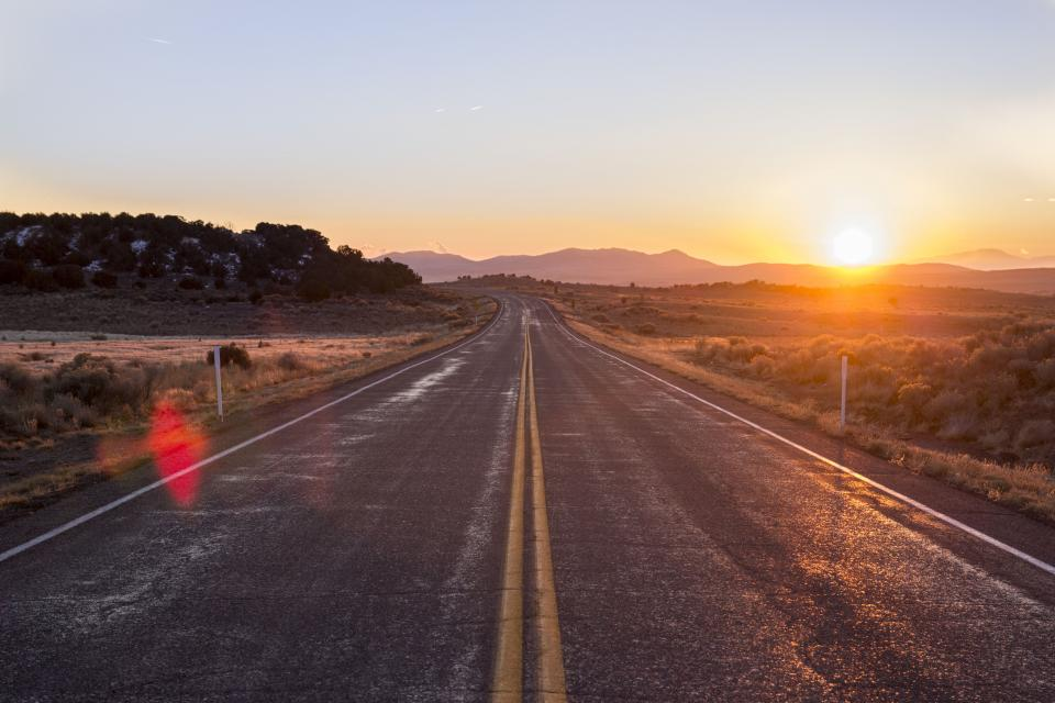 road and sunrise