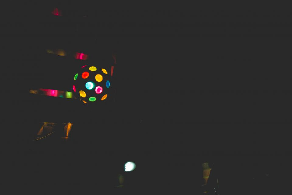 disco ball, lights, dancing, nightclub, dark