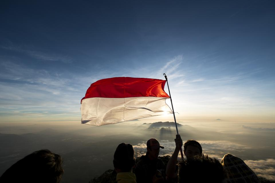 Indonesia, flag, sky, clouds, summit, peak, landscape, nature, outdoors, hiking, trekking
