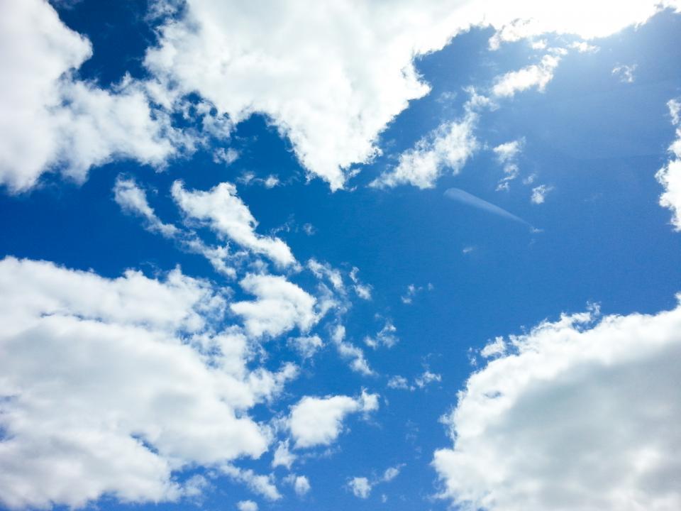 blue, sky, clouds, sunshine, nature