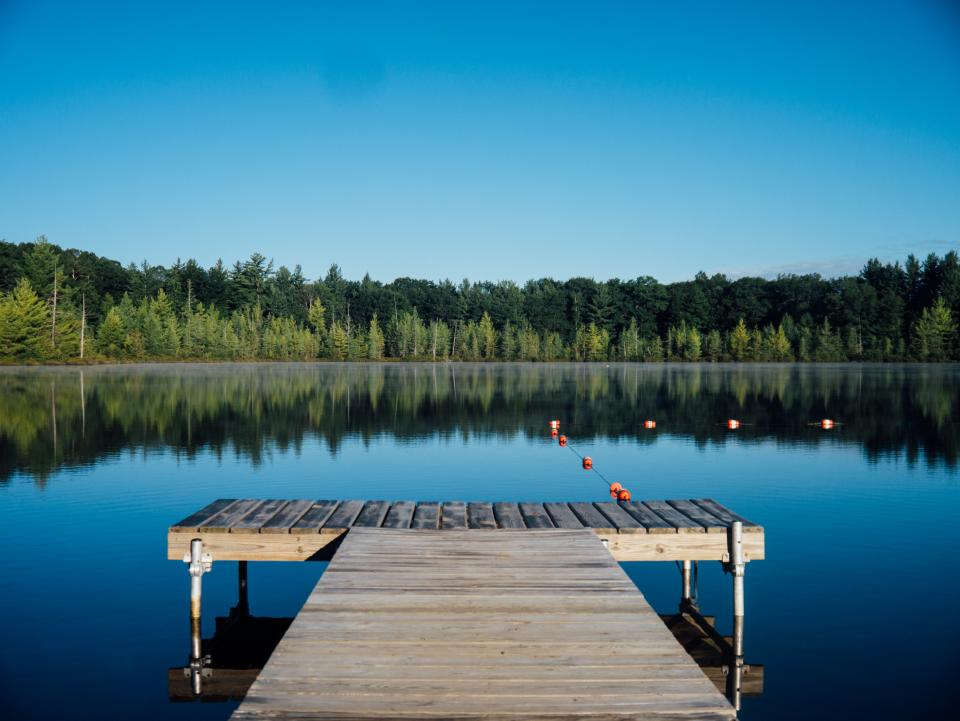 dock, lake, water, reflection, trees, forest, outdoors, nature, landscape, blue, sky, summer, cottage, rural, countryside