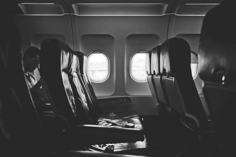 airplane, seats, isle, windows, travel, trip, transportation, black and white
