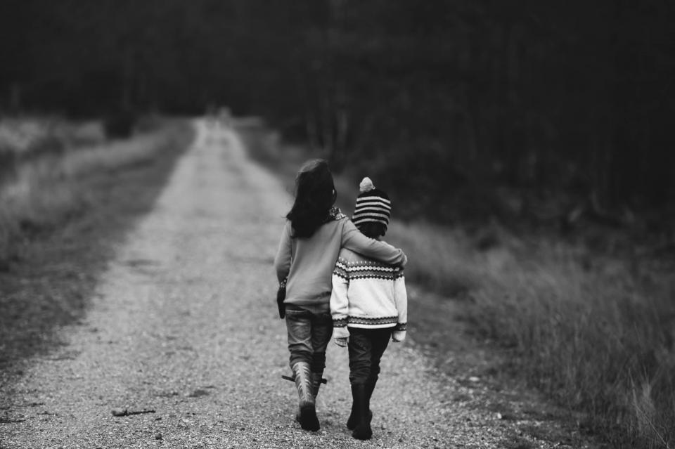 kids, children, walking, rural, countryside, nature, black and white