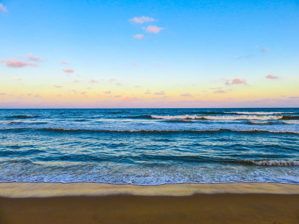 beach, ocean, sea, sand, shore, waves, sunset, sunshine, sky, clouds, water