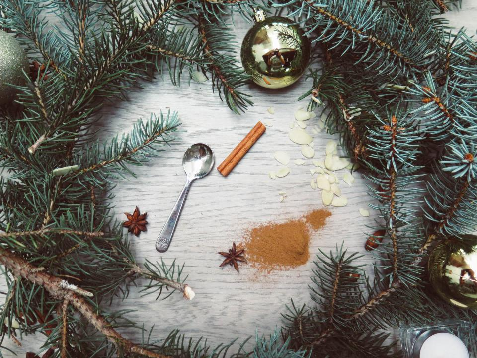 pine nut, cinnamon, powder, spoon, christmas, ornaments