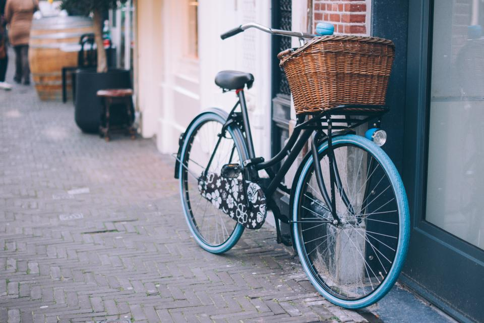 bicycle, bike, basket, cobblestone, sidewalk, city, urban, street