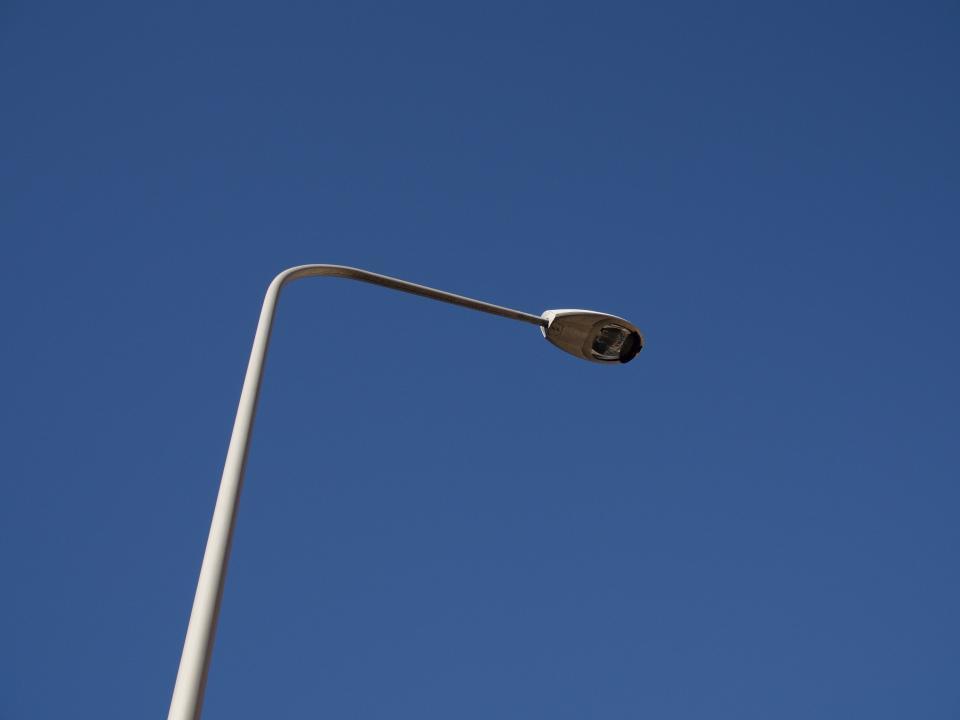 blue, sky, lamp post