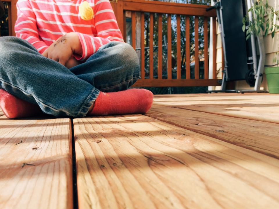 wood, deck, child, kid, porch, backyard