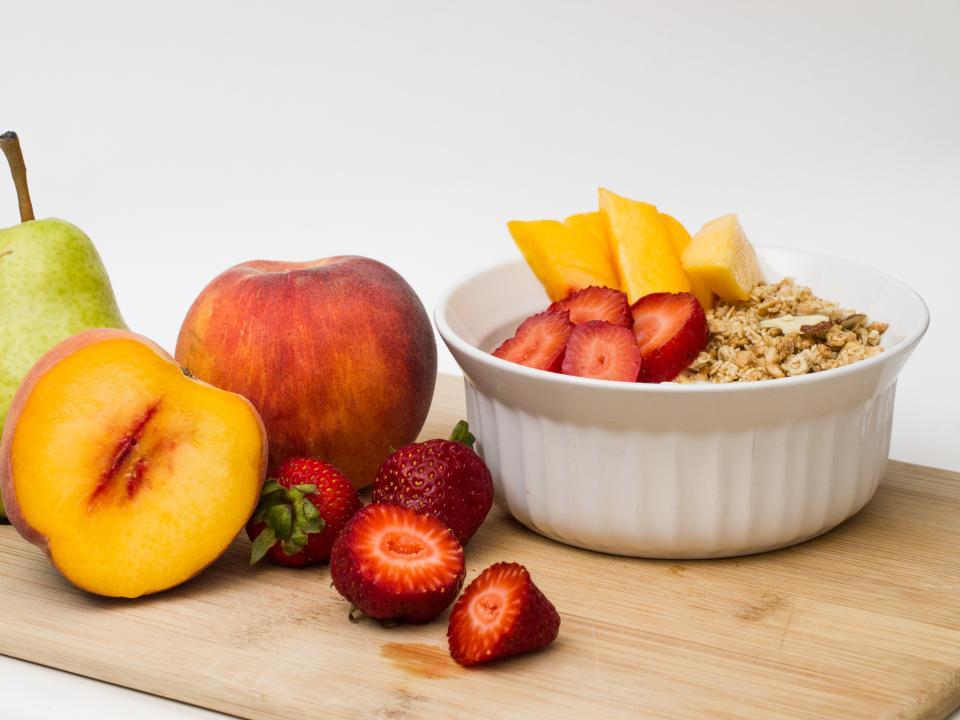 fruits, peach, pear, strawberry, strawberries, granola, yogurt, healthy, food