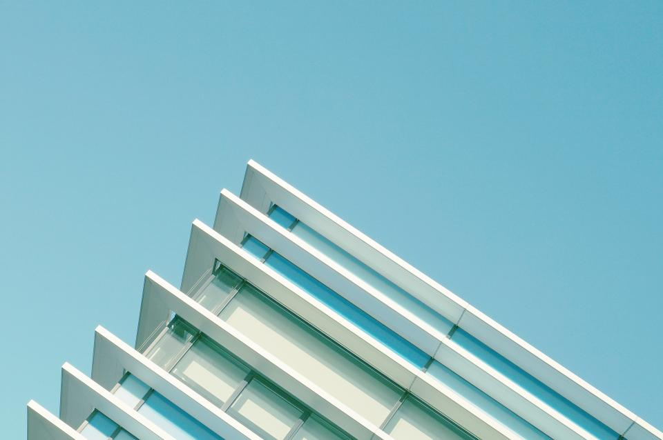architecture, buildings, office, residential, city, sideways, pattern, perspective, high rise, urban, metro, nature, sky, blue